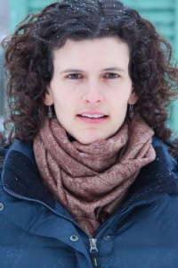 Jennifer Kingsley, writer, outside with snowflakes