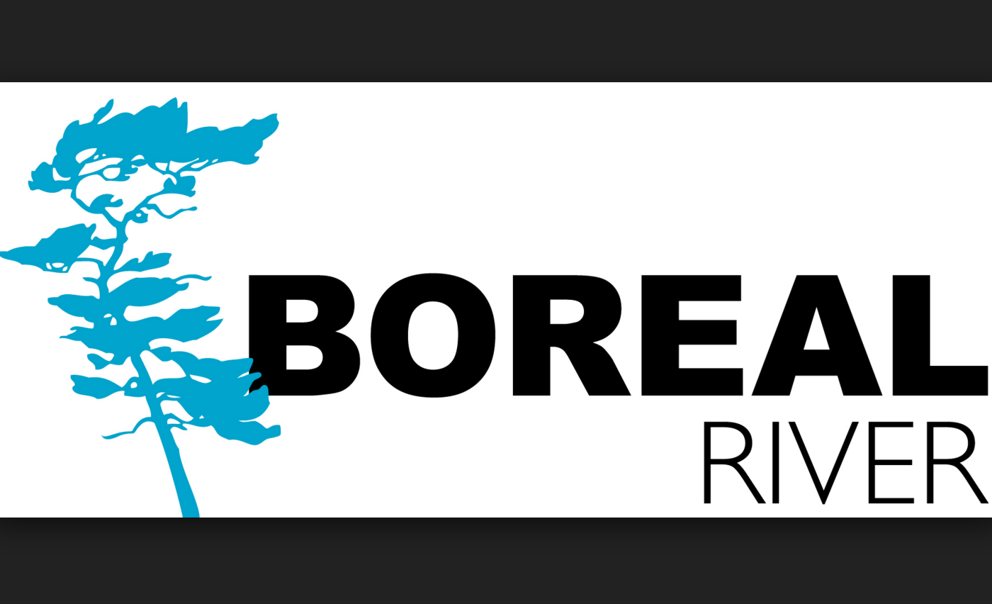 Boreal River logo with pine tree