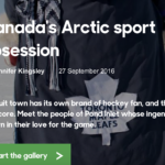 "Title from the BBC screen reads ""Canada's Arctic Sport Obsession"""