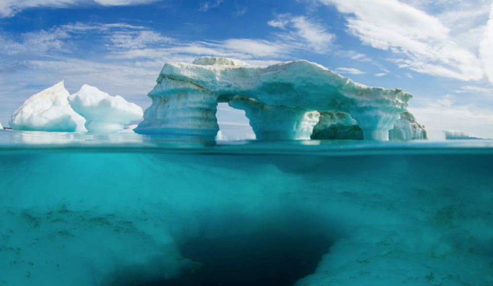 An iceberg above and below water