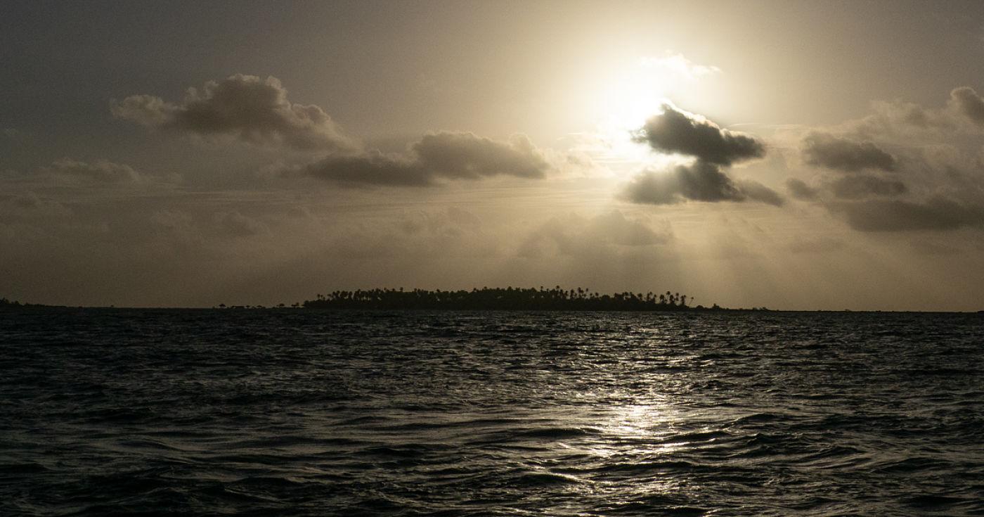 Approaching Apataki atoll, Tuamotus, French Polynesia