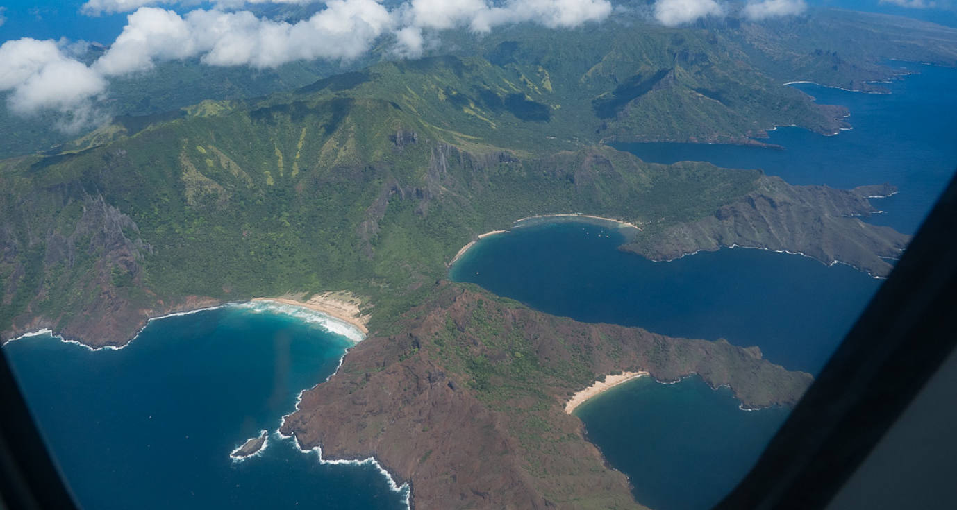 Flying over Nuku Hiva