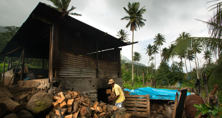 Drying coconut with fire