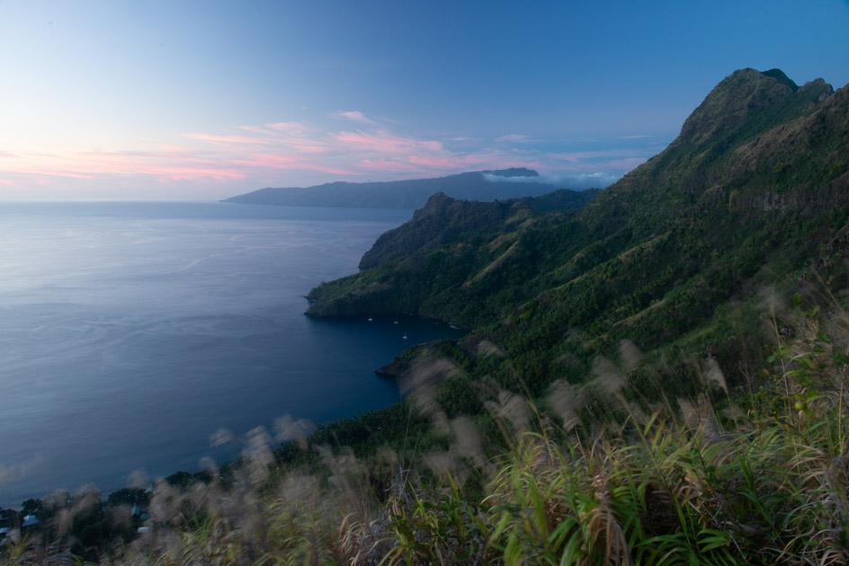 Mountain top ocean view at dusk