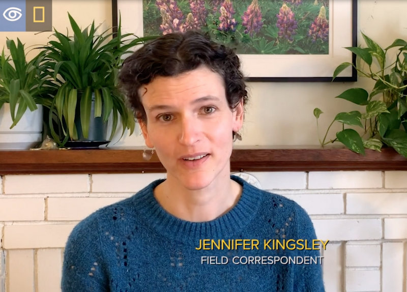 Jennifer Kingsley talks to camera